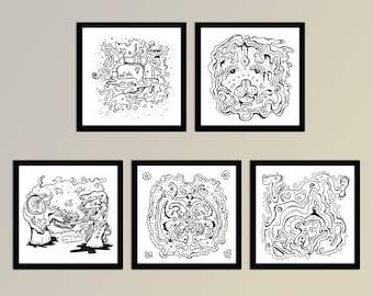 5 Abstract Organic Illustration Prints