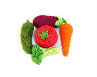 Pretend play food Crochet toys Play kitchen Birthday gift for sister 5 pcs Narural gifts for daughter Kids gift Waldorf toys Montessori toys