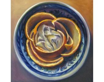 Orange Blossom - square art print of oil painting / fruit still life painting / kitchen art / Home Decor Wall Art / dining room