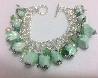 Green Beaded Charm style bracelet