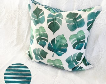 Monstera Leaf + Turquoise Stripe Watercolour Pillow Cover -  20x20 inches