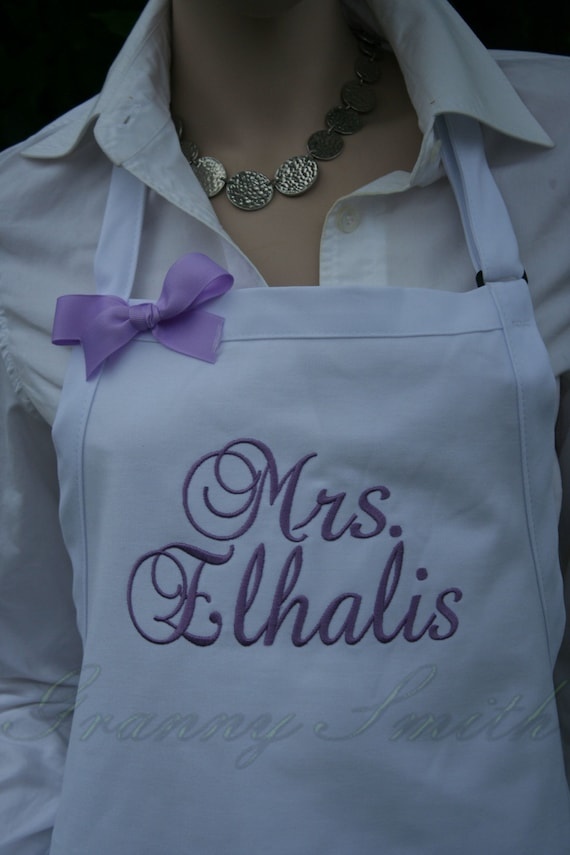 """3 pocket White Sugar Cubes apron with Amethyst thread (24""""L x 28""""W) """"SBE"""" font monogram. Personalize with or without a bow! Wedding gift."""