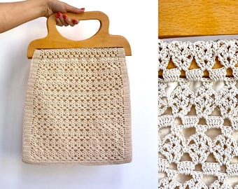 Vintage shopping bag Knitted bag Net bag Crochet bag Cotton bag Handbag Yarn bag Market bag Mesh bag Grocery bag Carrying bag Handmade Gift
