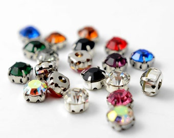 5mm Machine Cut Crystal Rhinestone Sew-on Montees by 12 pcs, 10 Colors Available