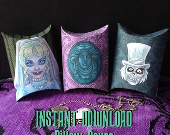 Haunted Mansion Inspired Pillow Boxes - Instant Download - Printable - Gift Box Party Favors Leota Bride Hatbox Ghost - Phantom Manor Disney