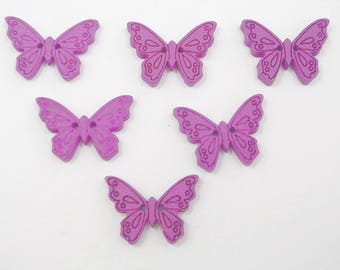 SET of 6 wood buttons: Butterfly purple 24mm