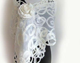 Silk Bridal Wrap - Wedding Shawl - White Silk Scarf - Shoulder Coverup
