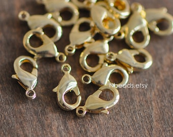 20pcs Gold Lobster Claw Clasps, 10/ 12/ 15/ 19mm Multi Sizes, Real Gold plated Brass, Necklace Bracelet Charm Clasps (GB-027)