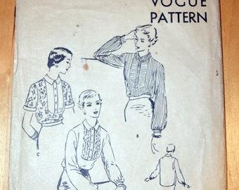 Vintage Vogue Dressmaking Pattern 1950 - Blouse Number 7223
