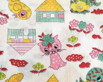 Vintage cute CAT kitsch cotton fabric