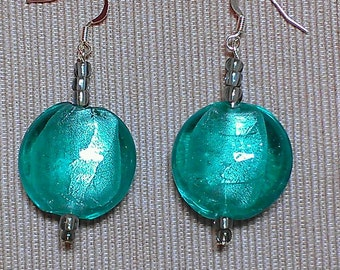 Concord: lampwork and glass beaded earrings