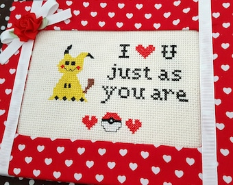 Just as you are Framed Cross Stitch-Pokemom cross stitch-Ready to Hang-Video Game-Gamer Cross Stitch-Valentines Gift-Cute Cross Stitch