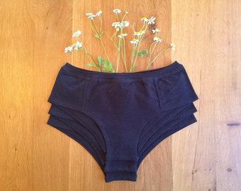 3x Black Organic Cotton & Hemp Cheeky Briefs Women's Underwear