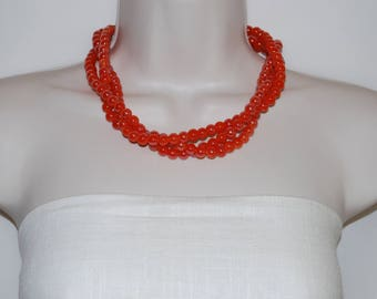 Peach Orange Glass Bead Statement Necklace Chunky Bold Necklace Multi-Strand