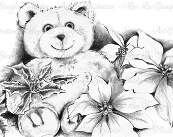 Digital Download Teddy Bear Clipart Pencil Drawing: Clip Art, Holiday Clipart, Poinsettia Flowers, Scrapbooking, Paper Crafts