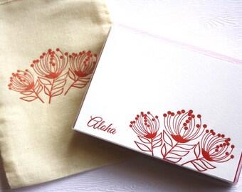 Lehua Blossom Aloha Mahalo Letterpress Cards with Muslin Sack Red