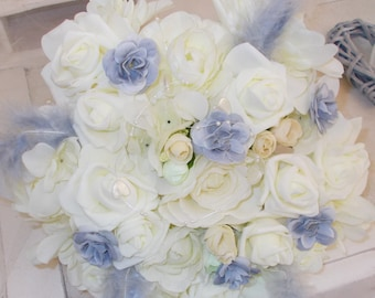 Pearl gray and white artificial bridal bouquet wedding gray wedding bridal bouquet roses bouquet of roses grey bridal bouquet