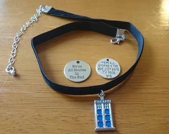 We're all stories in the end/Just make it a good one/ police box choker necklace