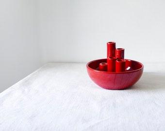 handmade ceramic vase-Ludovic Salins-Ikebana Vase-Red vases-Cilinder vase for ikebana-Pottery Vase-Flower Bowl-Florists-Ikebana 5 Neck