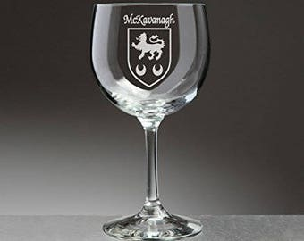 McKavanagh Irish Coat of Arms Red Wine Glasses - Set of 4 (Sand Etched)