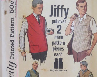 Mens, Vintage, Sewing Pattern, Jiffy Simplicity, Mens Medium, Pattern 4728, Mens Shirt, Uncut Pattern, Instructions, Pullover Vest