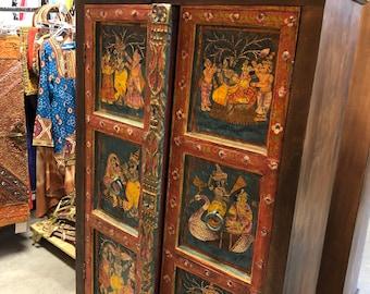Antique ARMOIRE Cabinet Chest Krishna Hand Painted Ancient Spirituality Love Interior Design