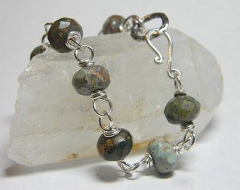 Stone and Knot Bracelet - Sterling Silver and Natural Faceted Green Forest Jasper Chunky Stones - Handmade With Hook Clasp