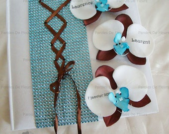 Wedding guestbook turquoise/chocolate corset, rhinestone and Orchid color choice to customize