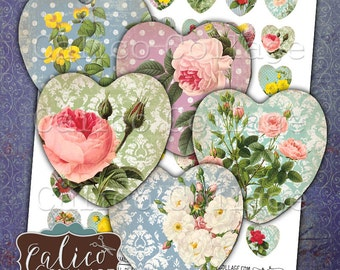 Shabby Chic, Collage Sheet, 25mm Heart, Digital Images, Heart Collage Sheet, Printable Download, Images for Pendants, Craft Sheet