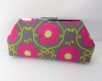Elegant Grey and Pink Floral Cotton Clutch Purse with Silver Tone Finish Snap Close Frame