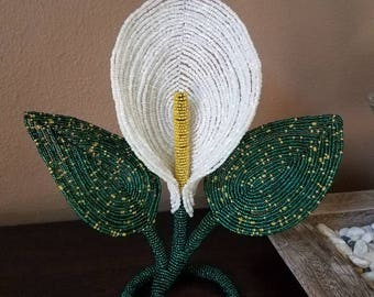 Calla Lily handmade french beaded flower