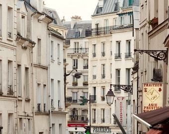 Rue Mouffetard, Paris Photography, Shops and Windows, Paris Print, White Wall Art, Large Art Print, 8x10, 16x20, 20x24 Art Print