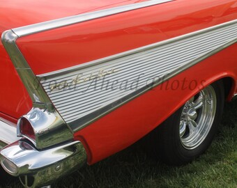 8 x 10 matted photo, reddish orange 1957 Chevy Bel Air, classic car