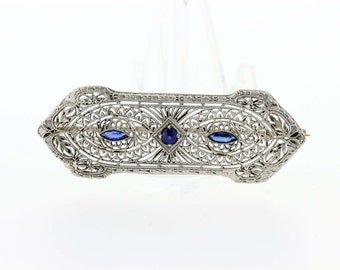 Platinum and 14K Gold with Blue Accents Brooch