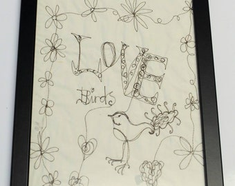 Love Bird free motion embroidery doodle