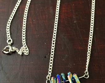 Rainbow Titanium Quartz Crystal Point Bib Necklace on Silver or Gold Metal Chain