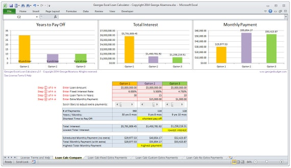 Excel Mortgage Calculator Home Loan Calculator Spreadsheet