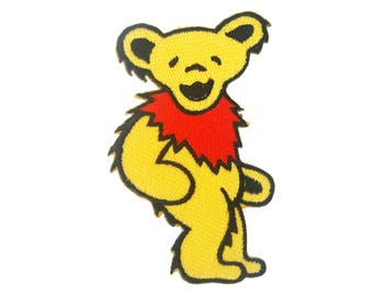 Grateful Dead Yellow Bear Iron On Patch Embroidered Applique Patches For Jackets