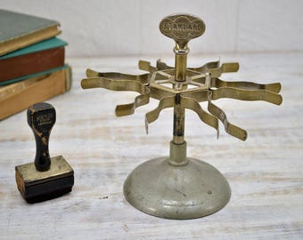 Standard Rubber Stamp Stand - vintage desktop stamp holder - Office Carousel