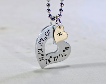 Silver Heart for Vaentines Day with Personalized Latitude Longitude Coordinates Necklace with Monogram Heart Charm - Solid 925 NL224