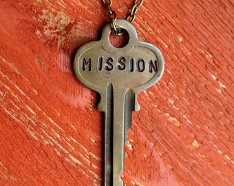 "Hand Stamped Vintage Key ""MISSION"" Necklace (#398) - Jewelry Necklace Pendant Custom"