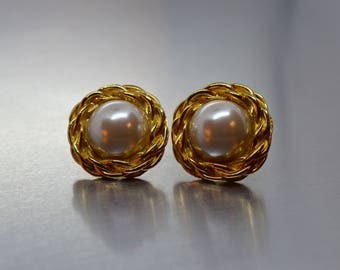 Vintage AK Anne Klein Gold Tone and Faux Pearl Clip On Earrings