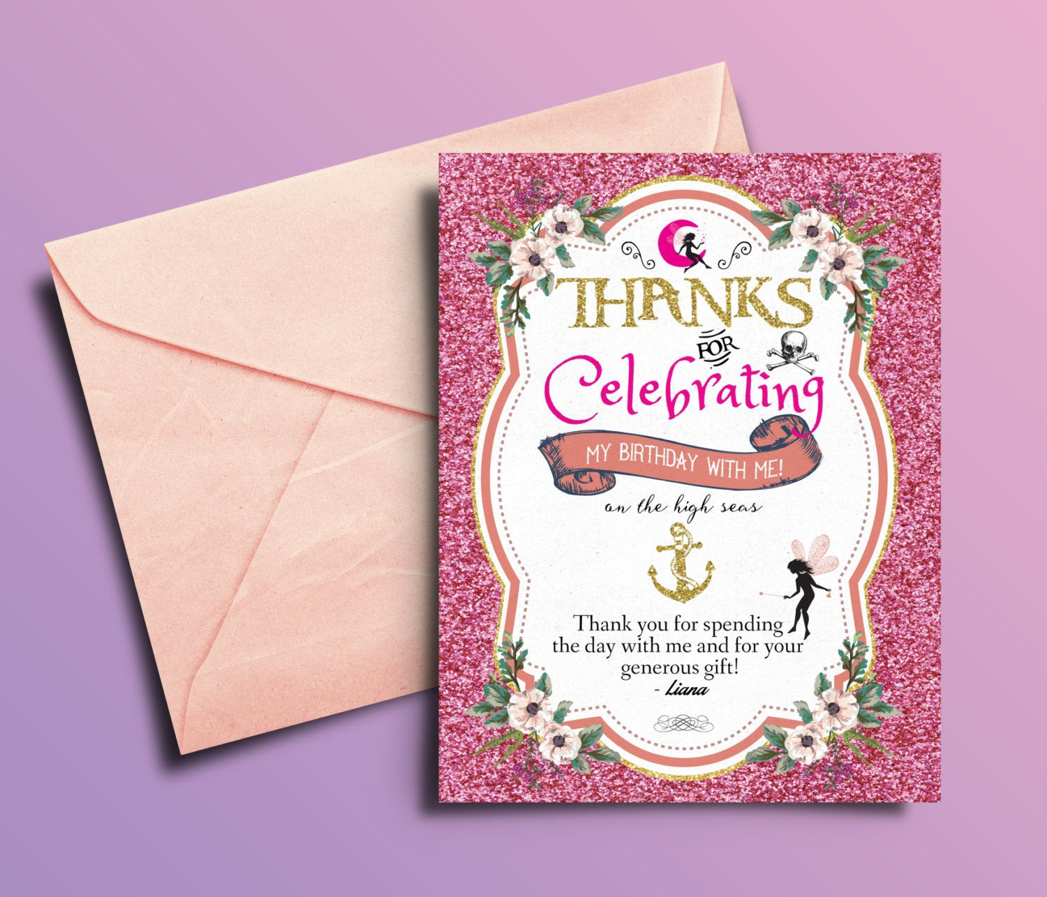 Fairy, Pixie, thank you card, Pirate and Princess Birthday ...