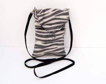 Navy Blue Zebra Genuine Leather, Embossed,  Extra Large Cell Phone Purse with Flap