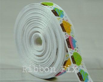 "2 yards 3/8"" Cupcake Grosgrain Ribbon - US Designer Print - Birthday - Party - Craft - Dessert - Baby - Home Decor - Dog Collar Leash"