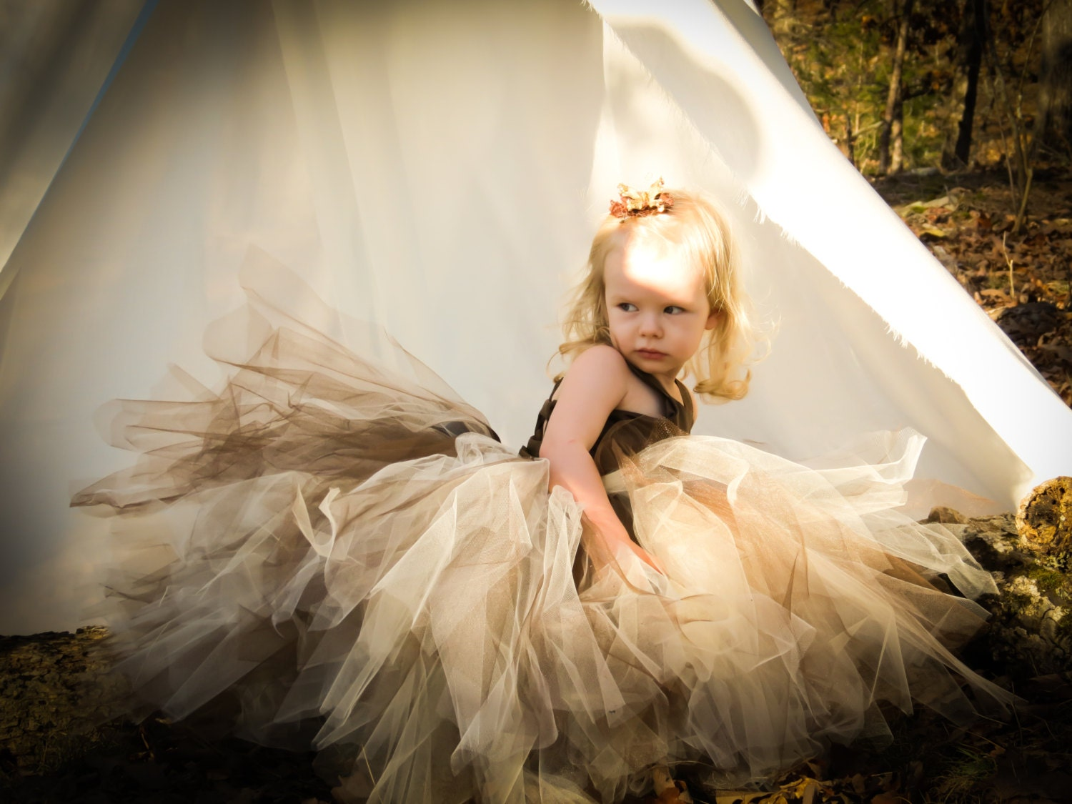 Pixie Tutu Dressocolate Brown Satin Bodiceown And