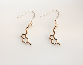 Serotonin Dopamine Silver Earrings, Serotonin Earrings, Dopamine Earrings, Sterling Silver Earrings, Molecule Earrings, Science Jewelry