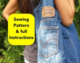 Sewing Pattern to turn your Jeans into a Denim Tote