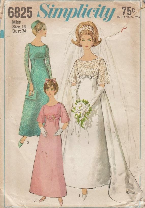 Simplicity 6825 / Vintage 60er Jahre Schnittmuster Kleid /