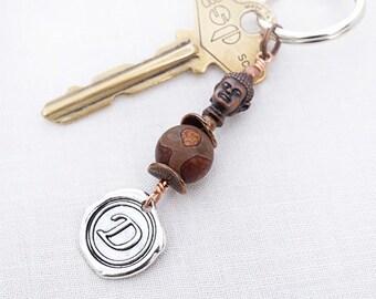 fathers Day Gift Initial Keychain Buddha Keychain Agate Dzi Personalized Gift Yoga Gift Zen Meditation Namaste Yoga Accessory Buddha Charm